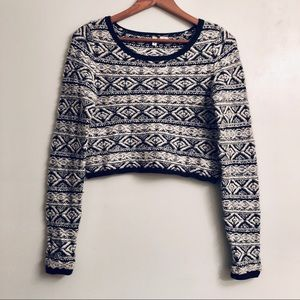 Anthropologie Moth Fair Isle Knit Cropped Sweater